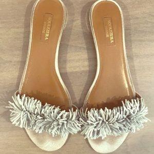 Aquazzura Silver Pom Pom Sandals - size 8